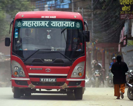 IN PICS: Public buses resume their services in Kathmandu Valley