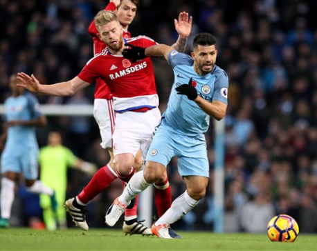 Man City held by Middlesbrough in 1-1 draw