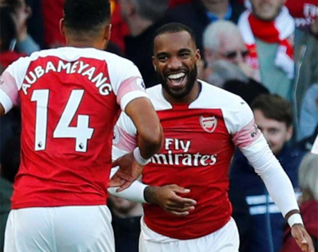Lacazette, Aubameyang help Arsenal edge past Everton