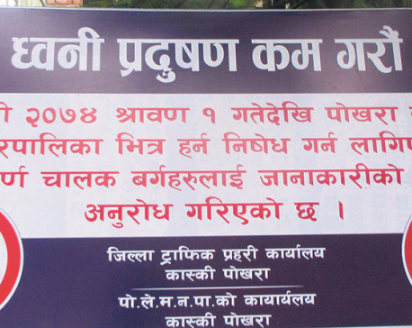 Ban on unnecessary  honking becoming effective in Pokhara-Lekhnath