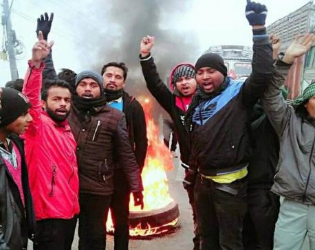 People protest against gov decision in Birgunj