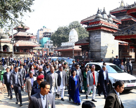 President Bhandari inspects reconstruction of heritages sites in capital (with photos)
