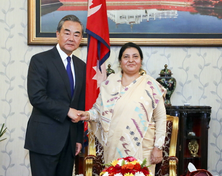 Visiting Chinese FM calls on President Bhandari