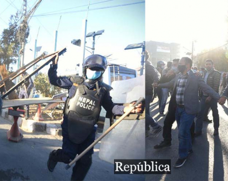 Students close to NCP (Dahal-Nepal faction) clash with police in capital (with photos)