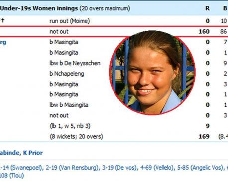 Cricket's unique scorecard: Team total - 169, Shania Lee-Swart 160, Extras 9