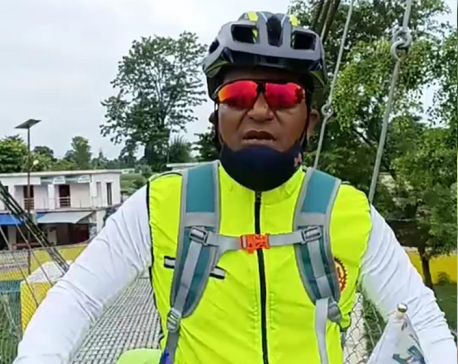 Shah sets out for Mahakali-Mechi cycle tour to commemorate COVID-19 victims