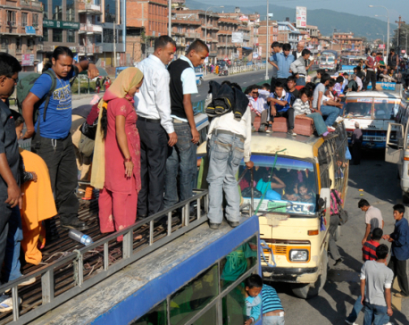 1.9 million people leave Kathmandu Valley in 20 days for Dashain