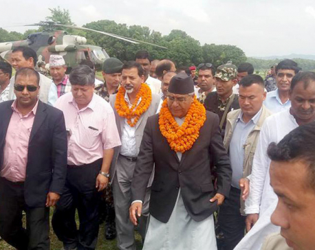 PM Deuba inspects flood-hit areas in Saptari