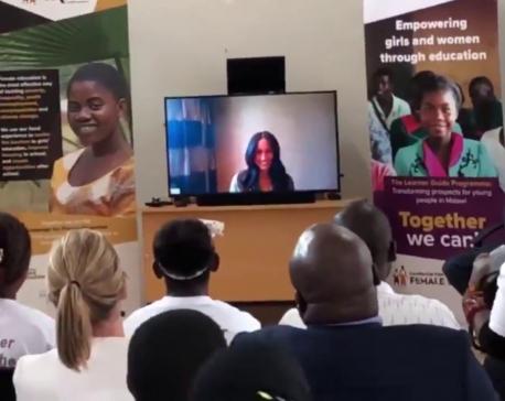 Meghan Makle joins Prince Harry via Skype as he visits Malawi School