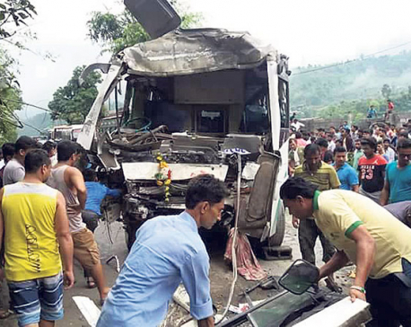 31 injured in Dhading bus-truck collision