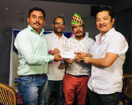 Film crew of 'Kabadi Kabadi Kabadi' donates Rs 300,000 to Dhurmus Suntali Foundation