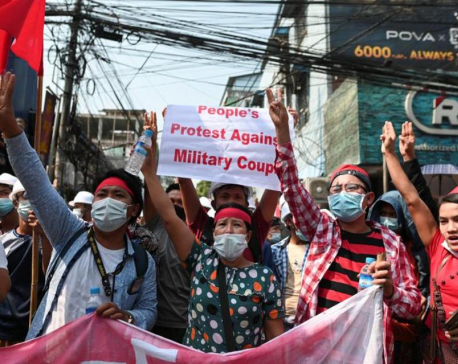 Tens of thousands gather for second day of street protests in Myanmar: witnesses