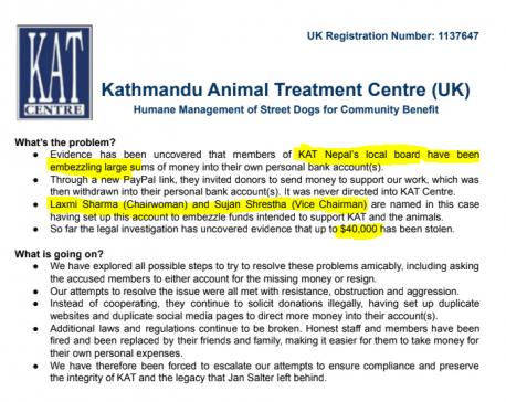 Kathmandu-based NGO operators accused of embezzling USD 40,000 UK donation meant for stray dog treatment