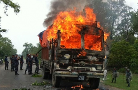 Truck ferrying medicines torched in Chitwan