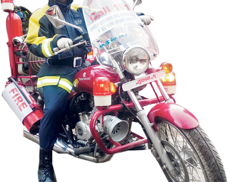 Man behind the fire motorbikes