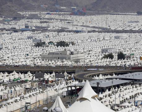Muslim pilgrims ahead of the annual Hajj pilgrimage