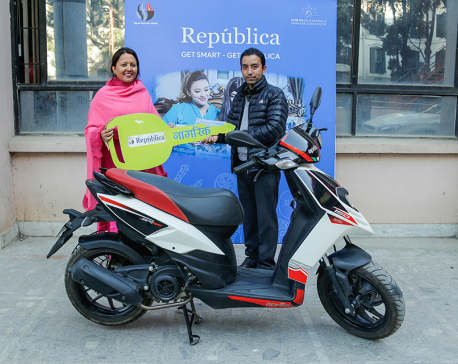 Winner of 'Get Smart Get Republica' receives aprilla 150 SR