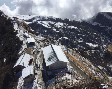Highland areas of Dolakha and Ramechhap witness snowfall (Photo feature)