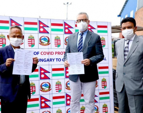 Government of Hungary hands over COVID health materials to Nepal