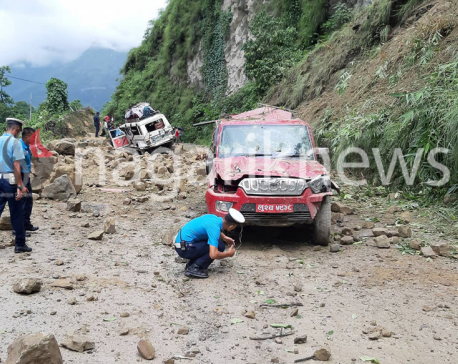 Jeep hit by landslide, driver dies