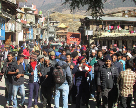 Locals demonstrate against security bodies in Jumla