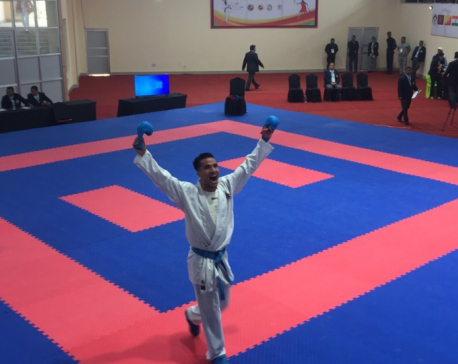 Nabin Rasaili wins gold in Men's Karate Individual Kumite
