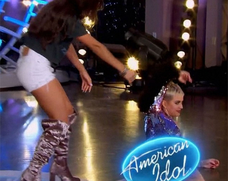 American Idol: Katy Perry takes a tumble while dancing