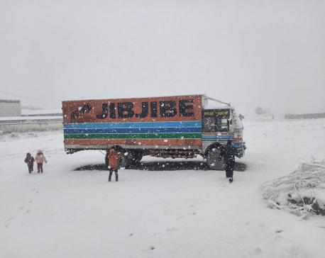 Snowfall disrupts transportation along Nepal-China border
