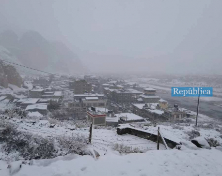 Manang, Mustang witness heavy snowfall today (with photos)