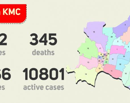 Kathmandu Metropolis has 10,801 active cases, 345 deaths reported so far