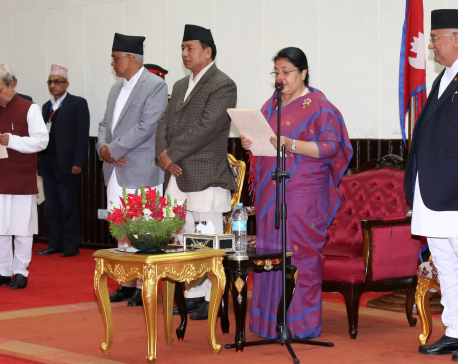 President Bhandari administers oath to HoR and NA senior most members