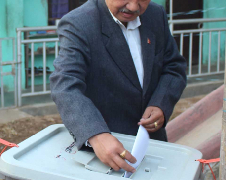 UML leader Nemwang and Khanal cast their votes in Ilam (Photo features)