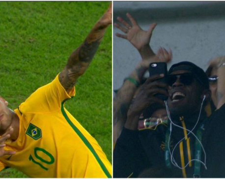 Neymar strikes a pose for Usain Bolt