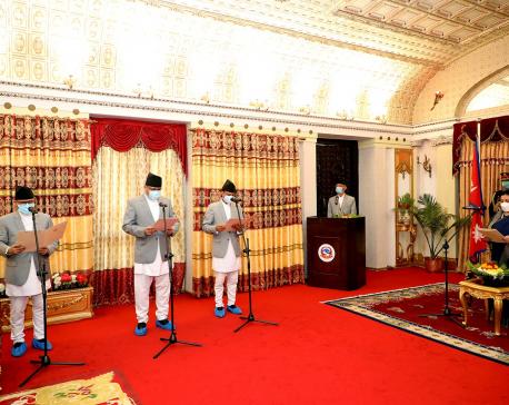 President Bhandari administers oath to three ambassadors