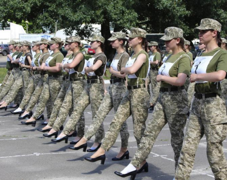Ukraine criticized for making female cadets parade in heels