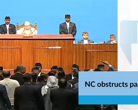 NC obstructs parliament(with video)
