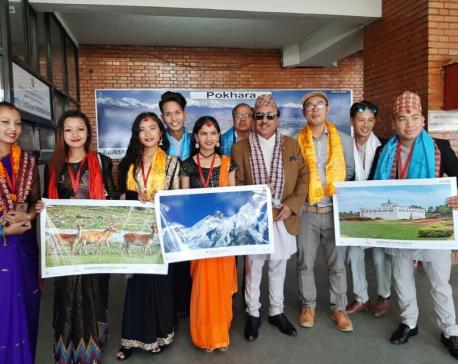 Sambhujeet Baskota and his team performing in China supporting VisitNepal2020