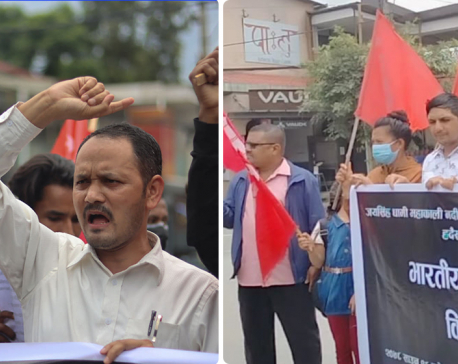 Youths stage protest in front of Indian Embassy in Kathmandu