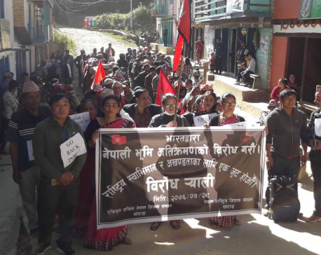 School teachers stage demonstration in Khotang against border encroachment by India