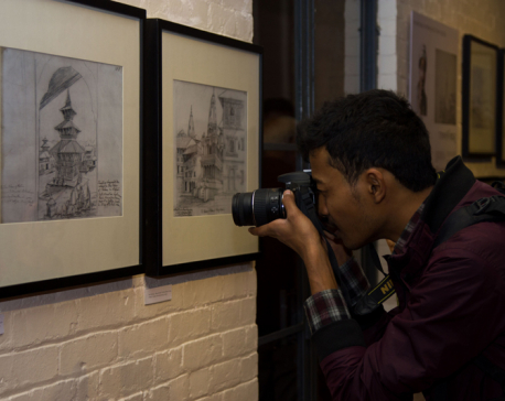 Pencil sketches in exhibition at Taragaon Museum