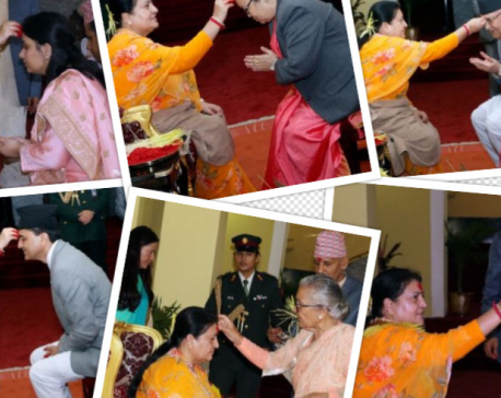 President offers Dashain Tika to distinguished persons, general public (with photos)