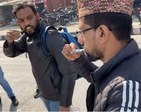 Bibeksheel Party leaders, cadres brush their teeth in a symbolic protest at Maitighar