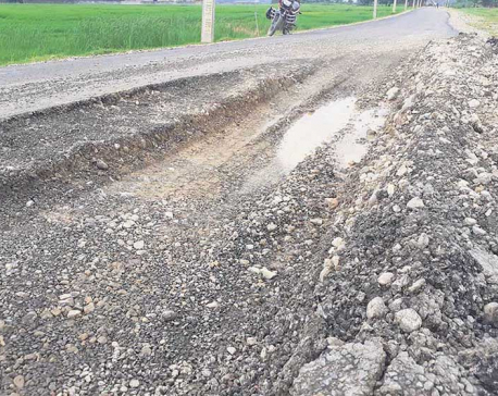 Blacktopped road damaged before completion