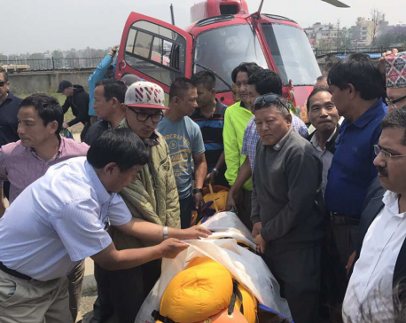 Body of octogenarian climber Sherchan airlifted to Kathmandu for posmortem
