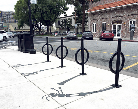 Street Artist Painting Fake Shadows in Redwood City