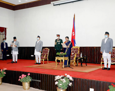 UML leader Thapa re-sworn in as home minister