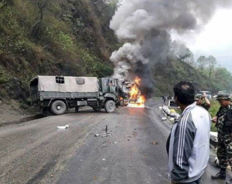 IN PICTURES: Chaotic collision sets truck on fire