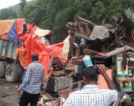 When landslide smacks trucks ...