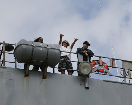 Ship with sailors rescued at sea reaches US base in Okinawa