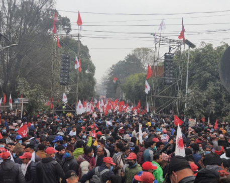VIDEO: NCP's Dahal-Nepal faction holds mass gathering in capital against dissolution of parliament